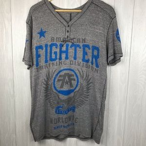 American Fighter gray buttoned v-neck t-shirt